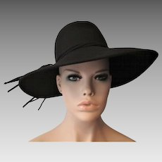 Womens Black Wide Brim Hat Vintage 1970s Adolfo II Wool Felt