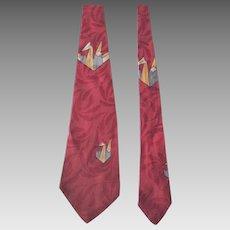 Vintage 1940s Mens Rayon Origami Novelty Necktie Tie Red Damask Cravat Tres Parisien