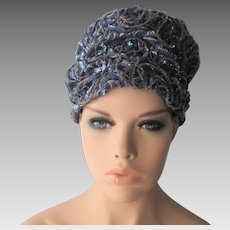 Womens Sequined Turban Hat Vintage 1960s Frances and Walter Nelkin Blue