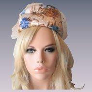 Womens Pillbox Hat Vintage 1960s Blue Gold Ivory Floral Metallic Brocade Veil