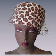 Leopard Animal Print Pillbox Hat Vintage 1960s Veil Plus Velour Ilten Hats