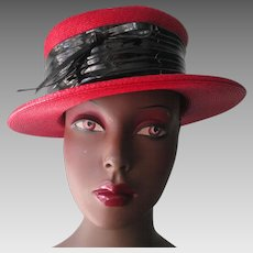 Womens Boater Hat Vintage 1960s Red Straw Black Patent Band