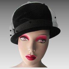 Womens Black Bowler Hat Vintage 1960s Velvet Veil Bow