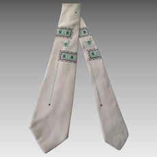 Art Deco Short Necktie Vintage 1940s Geometric Aladdins Lamp Ivory Green Black Novelty