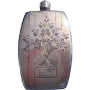 Victorian Sterling Silver Perfume Flask Etched Flower Basket Monogrammed E Stopper