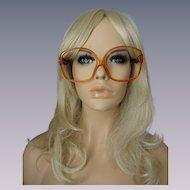 Christian Dior Eyeglasses Vintage Huge Frames Amber Lucite Designer Eyewear