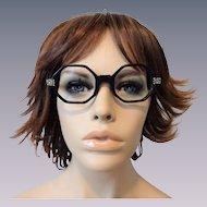 Vintage 1950s Eyeglasses Black Octagonal Frames Jeweled Stars French Villager Eyewear