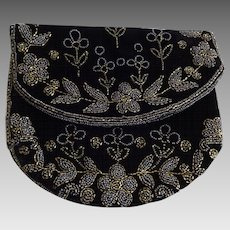 Victorian Clutch Purse Antique Black Beaded Steel Beads Flower Floral
