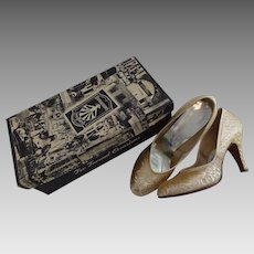 Brocade Shoes Heels Vintage 1950s Party Prom Wedding Silver Gold Metallic