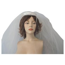 Vintage Wedding Veil Hat 1950s Faux Pearl Bow Satin Bride Bridal
