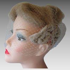 Blonde Mink Fur Hat Veil Vintage 1940s Headband Velvet Bows
