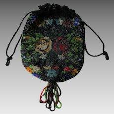 Flapper Purse Beaded Drawstring Pouch Vintage 1920s Black Floral Fringe