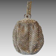Silver Rhinestone Flapper Purse Vintage 1920s Sparkling Evening Bag Wedding