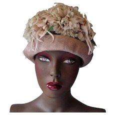 Floral Church Hat Vintage 1960s Cloche Taupe Beige Millinery Flowers Velvet
