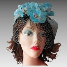 Blue Floral Whimsy Hat Vintage 1950s Bluebells Veil Cocktail