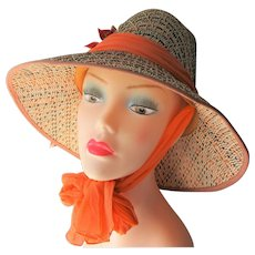 Straw Sun Hat Vintage 1970s Garden Flower Pot Braid Orange Scarf