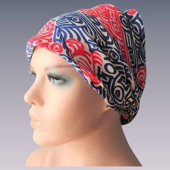 Designer Vera Neumann Silk Head Scarf Vintage 1970s Red White Blue Patriotic Nautical