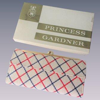 Deadstock Wallet Vintage 1970s Red White Blue Plaid Princess Gardner Bifold