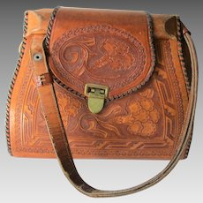 Art Nouveau Tooled Leather Purse Handbag Floral Geometric Designs