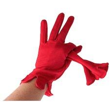 Red Nylon Womens Gloves Vintage 1960s Van Raalte