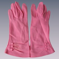 Pink Nylon Womens Gloves Vintage 1960s Fownes