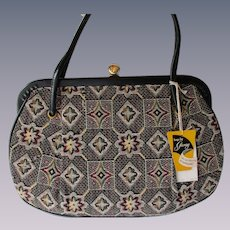 Garay Black Tapestry Purse Vintage 1960s Leather Deadstock