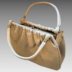 Garay Tan Straw Purse Vintage 1970s Deadstock NWT