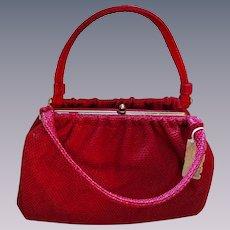 Garay Red Straw Handbag Vintage 1970s Purse Deadstock NWT