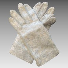 Brocade Gloves Vintage 1960s Womens Beige Wristlet