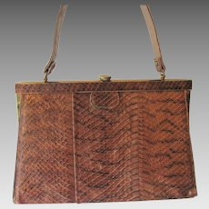 Genuine Snakeskin Kelly Bag Purse Vintage 1950s Brown Handbag Bag