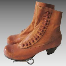 Antique Edwardian Brown Leather Button Boots Young Adult Teen Snub Toe