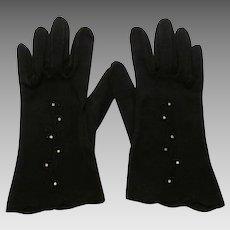 Black Wristlet Gloves Vintage 1950s Rhinestone Flowers Pinup Womens Cotton