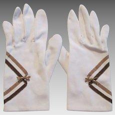 White Nylon Wristlet Gloves Vintage 1950s Two Tone Brown Stripes Bow