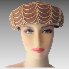 Wool Felt Hat Vintage 1960s Taupe Beige Ribbon Glamour Felts