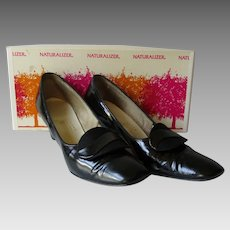 Mod Black Womens Shoes Vintage 1960s Naturalizer Leather Pumps