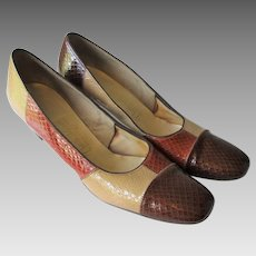 Embossed Leather Womens Shoes Pumps Vintage 1970s Multi Color Fall Naturalizer