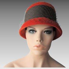 Orange Velvet Cloche Hat Vintage 1960s Veil Brown Grosgrain Band