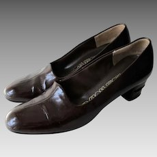 Brown Leather Shoes Pumps Vintage 1970s Womens Red Cross