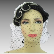 Black Velvet Hat Veil Vintage 1940s Headband Sequins Fisk Chicago