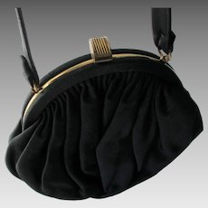 Garay Black Purse Vintage 1940s Day To Evening Handbag