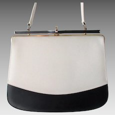 Mod Womens Purse Vintage 1960s Navy Blue White Leather Naturalizer