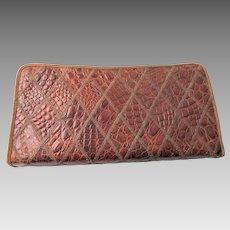 Clutch Purse Vintage 1940s Brown Embossed Leather Faux Reptile Alligator