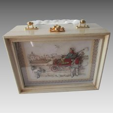 Wooden Box Purse Vintage 1960s Lucite Handle Anton Pieck Shadow Box
