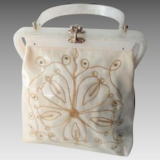 Lucite Purse Vintage 1950s Florida Handbags Of Miami White Gold Linen
