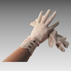 Lace Gloves Vintage 1930s Beige Womens Accessory