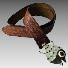 Tooled Leather Belt Vintage 1970s Hippie Boho Fish Enamel Jeweled Buckle
