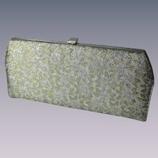 Clutch Purse Vintage 1960s Disco Gold Silver Metallic Floral Fold In Handle