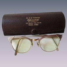 Aluminum Cat Eye Glasses Eyeglasses Vintage 1950s Advertising Case Taupe Gold