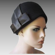 Black Beehive Hat Vintage 1960s Wool Felt Satin Bow Geo. W. Bollman