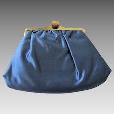 Saks Fifth Avenue Evening Bag Vintage 1940s Royal Blue Satin Clutch Purse
